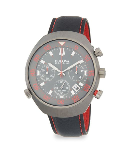 Bulova - Gray Accutron Ii Stainless Steel And Leather-strap Watch for Men - Lyst