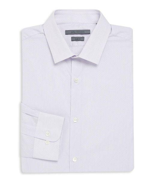 John Varvatos | White Slim-fit Cotton Dress Shirt for Men | Lyst