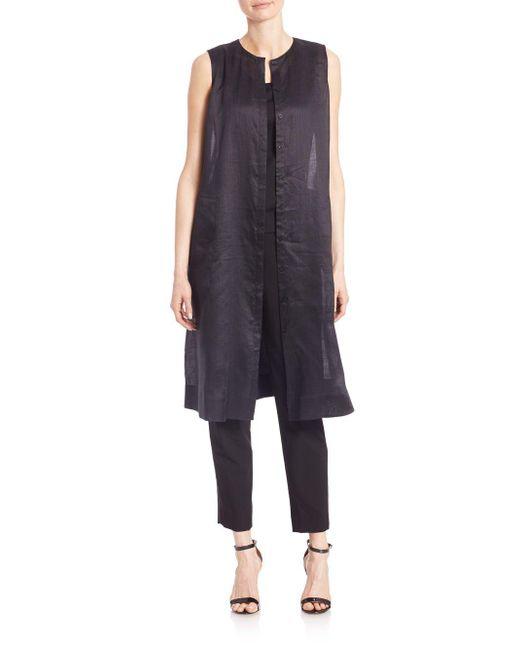 Lafayette 148 New York - Black Gemma Cloth Lindy Vest - Lyst