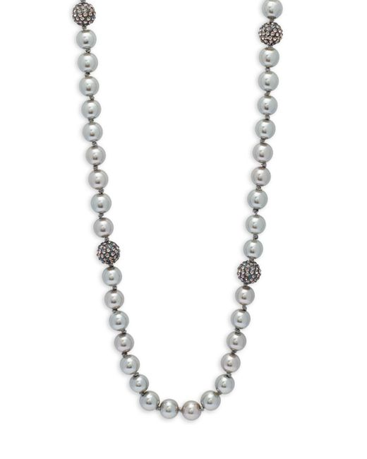 Saks Fifth Avenue | Gray 8mm Grey Faux Pearl & Crystal Necklace | Lyst