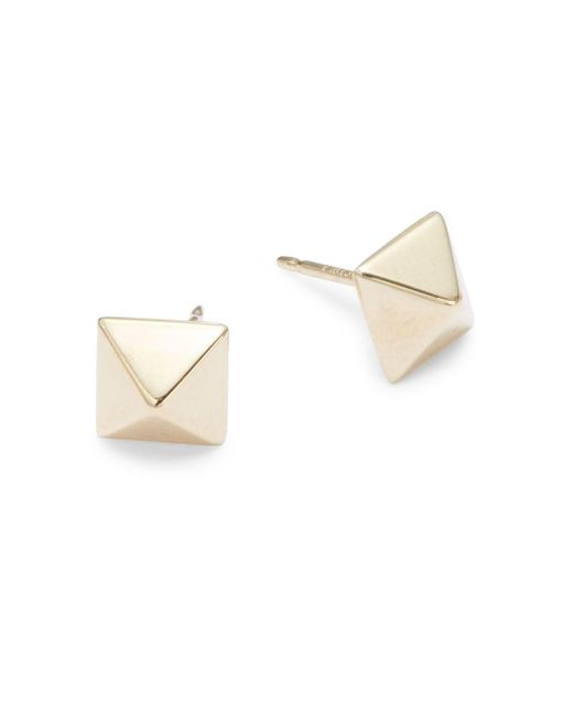 Saks Fifth Avenue - Metallic 14k Yellow Gold Pyramid Stud Earrings - Lyst