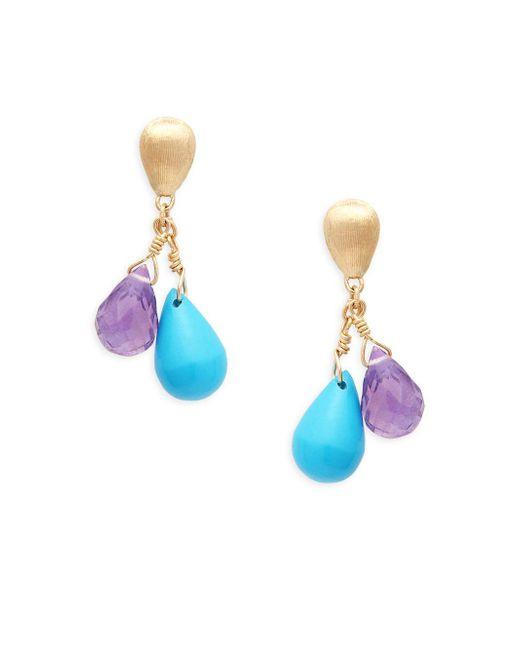 Marco Bicego - Metallic Acapulco Resort 18k Gold, Turquoise & Amethyst Drop Earrings - Lyst