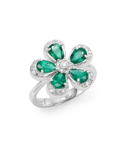 Effy | Green Final Call Diamond, Emerald & 14k White Gold Flower Ring | Lyst