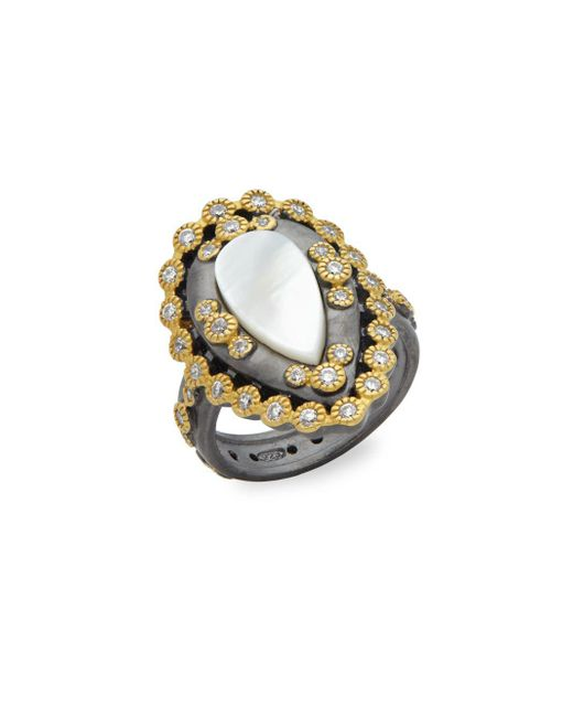 Freida Rothman - Metallic Classic Mother-of-pearl & Studded Sterling Silver Ring - Lyst