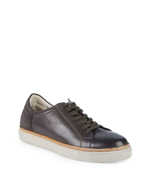 Kenneth Cole - Gray Premier Leather Low-top Sneakers for Men - Lyst