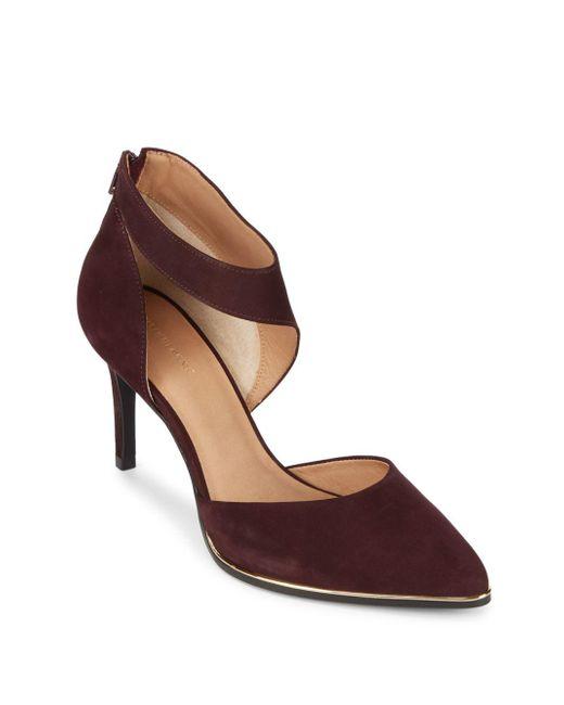Saks Fifth Avenue - Brown Point-toe Leather Stilettos - Lyst
