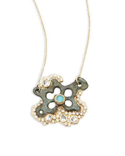 Armenta - Metallic Sueno White Diamond, Turquoise Sapphire, White Sapphire & 18k Goldplated Star Pendant Necklace - Lyst