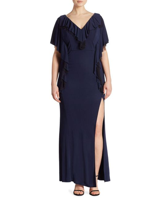 ABS By Allen Schwartz - Blue Matte Jersey Ruffle Gown - Lyst