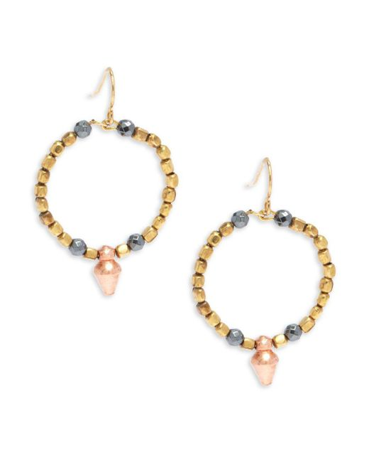 Vanessa Mooney - Metallic Goldplated & Faceted Copped Beaded Hoop Earrings/1?? - Lyst