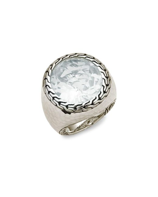John Hardy | White Women's Batu Sterling Silver Oval Ring | Lyst