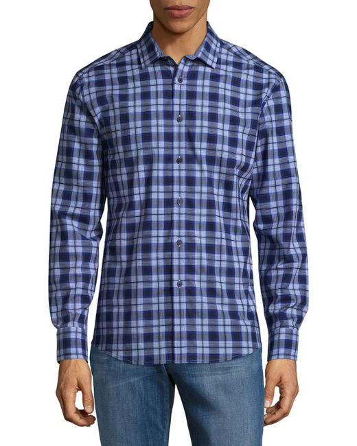 Vince Camuto | Blue Plaid Cotton Button-down Shirt for Men | Lyst