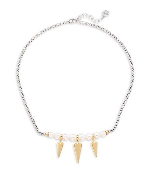 Majorica - 6/7/8mm White Organic Pearl & Spike Necklace - Lyst
