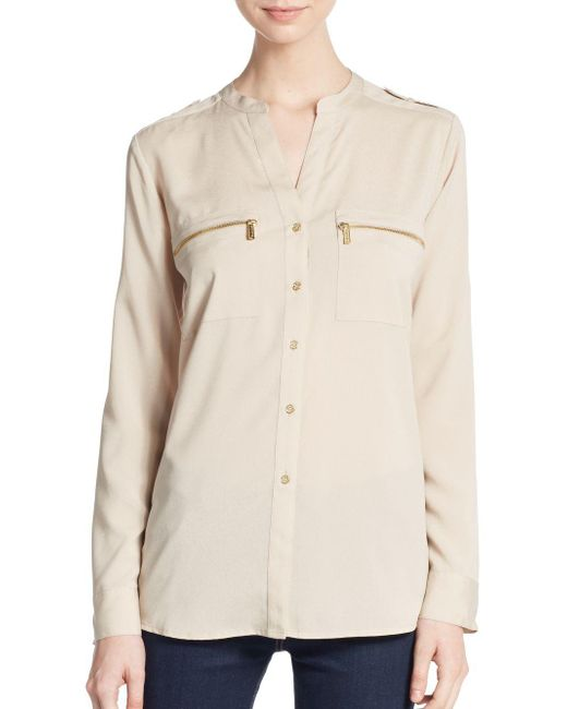 Calvin Klein | Natural Roll-sleeve Blouse | Lyst