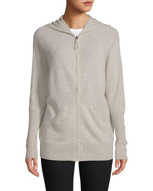 Saks Fifth Avenue - Gray Cashmere Zip-front Hoodie Sweatshirt - Lyst