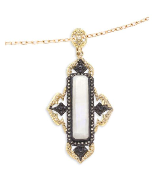 Armenta | Metallic Old World Rainbow Moonstone, Diamond, 18k Yellow Gold & Sterling Silver Pendant | Lyst