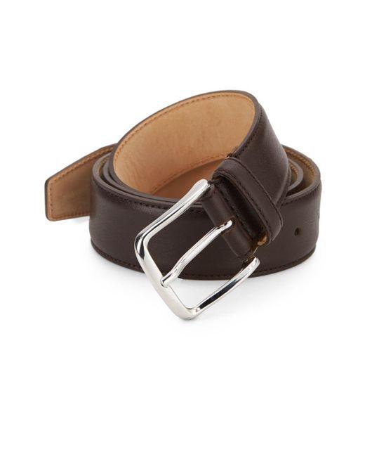 Saks Fifth Avenue   Metallic Leather Belt for Men   Lyst