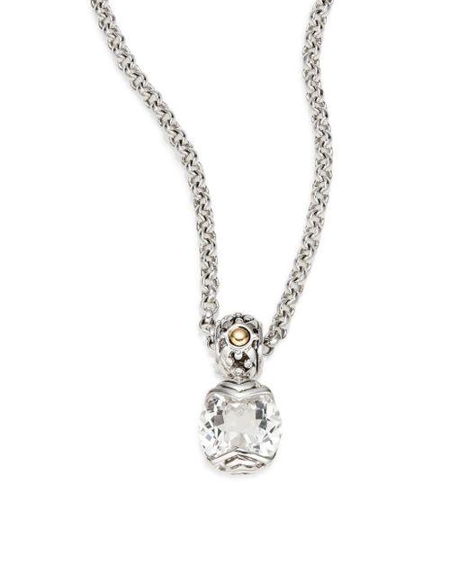 John Hardy | Metallic White Topaz, Sterling Silver & 18k Yellow Gold Necklace | Lyst