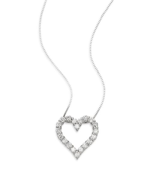 Saks Fifth Avenue | Metallic 0.50 Tcw Diamond & 18k White Gold Heart Pendant Necklace | Lyst