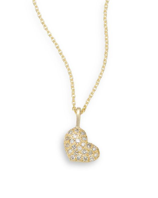 Saks Fifth Avenue - Metallic Diamond & 14k Yellow Gold Heart Necklace - Lyst
