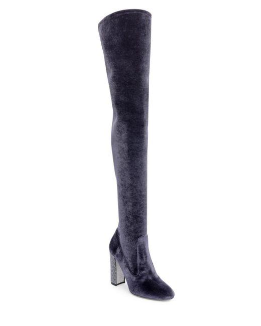 Rene Caovilla - Gray Velvet Over-the-knee Boots - Lyst