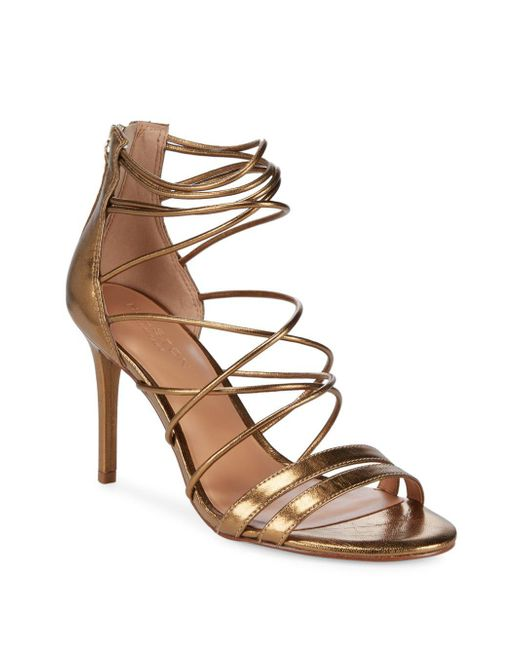 Halston Heritage - Metallic Strappy Leather Sandals - Lyst