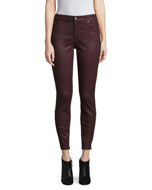 7 For All Mankind - Purple Sequin Skinny Jeans - Lyst