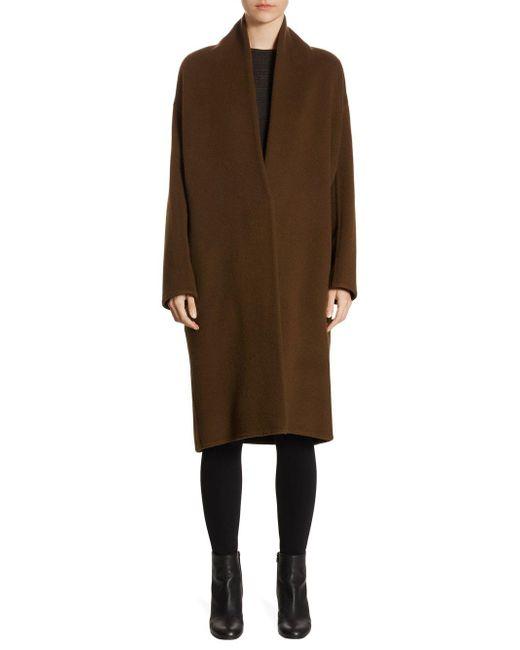 Vince - Brown Wool-blend V-neck Coat - Lyst