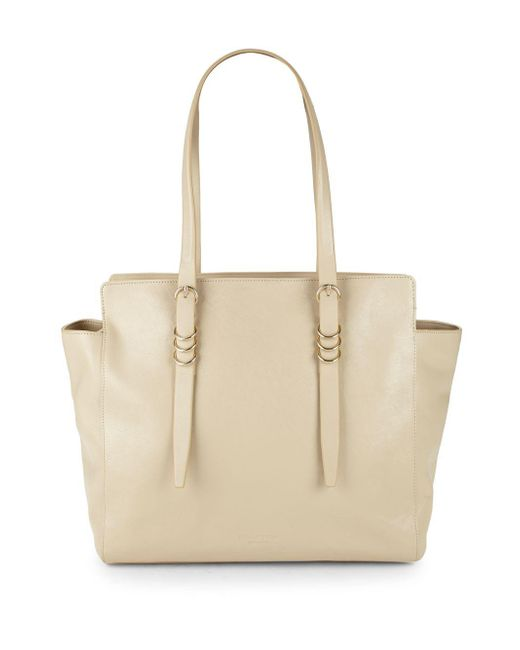 Halston Heritage - Natural Large Leather Zip Tote - Lyst ... 66f5ac24cc9d5