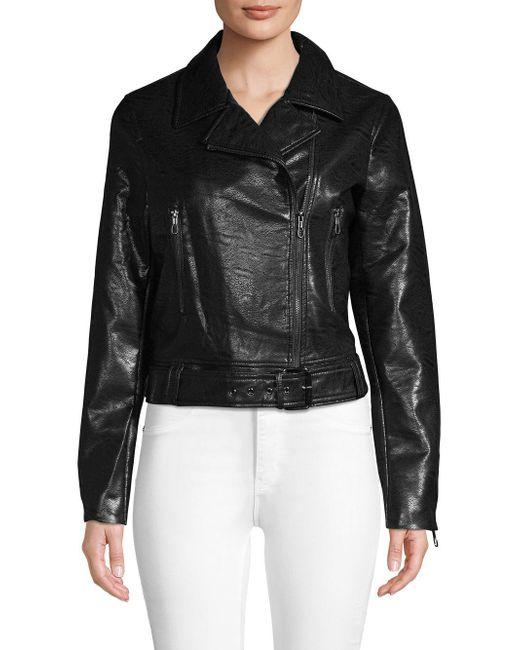 T Tahari - Black Belted Faux Leather Moto Jacket - Lyst