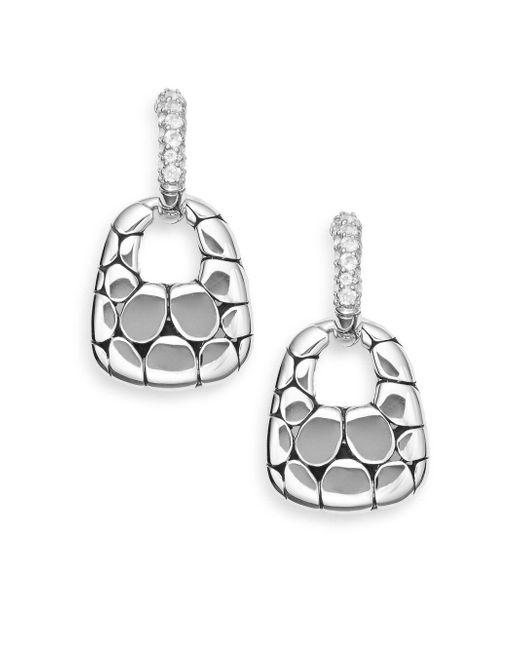 John Hardy   Metallic White Topaz & Sterling Silver Doorknocker Hoop Drop Earrings   Lyst