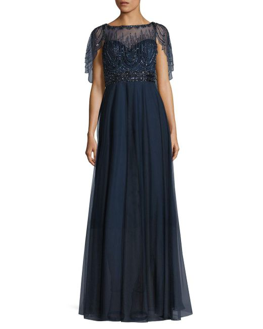 Basix Black Label - Blue Beaded Capelet Gown - Lyst