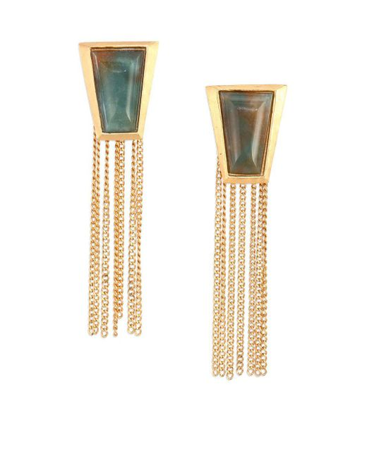 Stephanie Kantis - Impose Green Moss Agate Chain Fringe Earrings - Lyst