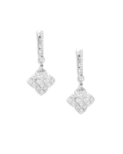 Saks Fifth Avenue - Metallic 14k White Gold And Diamond Clover Drop Earrings - Lyst