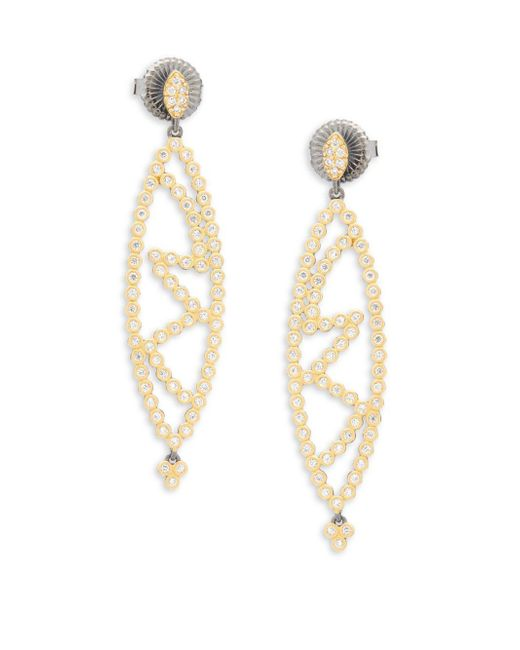 Freida Rothman - Metallic Marquise Cutout Drop Earrings - Lyst