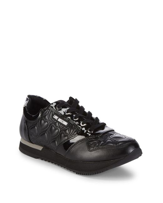Love Moschino - Black Quilted Low-top Sneakers - Lyst