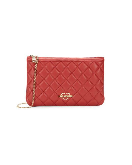 8582fd8f8d4 Love Moschino Quilted Zip Shoulder Bag in Red - Lyst