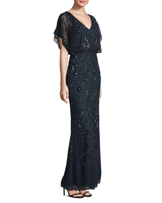 Aidan Mattox - Multicolor Flutter Sleeve Beaded Gown - Lyst
