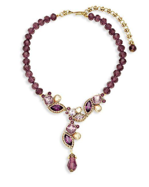 Heidi Daus - Brown Garland Crystal & Rhinestone Y-drop Pendant Necklace - Lyst