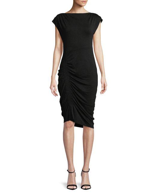 Vince Camuto - Black Extend Shoulder Mockneck Side Ruched Knee-length Dress - Lyst