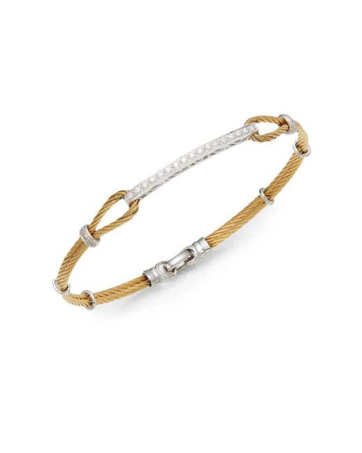 Alor | Metallic Diamond, 18k Yellow Gold & Steel Bracelet | Lyst