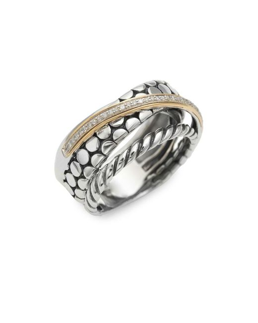 Effy - Metallic 14k Yellow Gold, Sterling Silver And Diamond Ring - Lyst