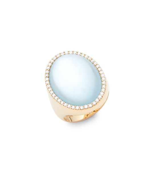 Roberto Coin - Blue Diamonds, Topaz And 18k Rose Gold Doublet Round Ring - Lyst