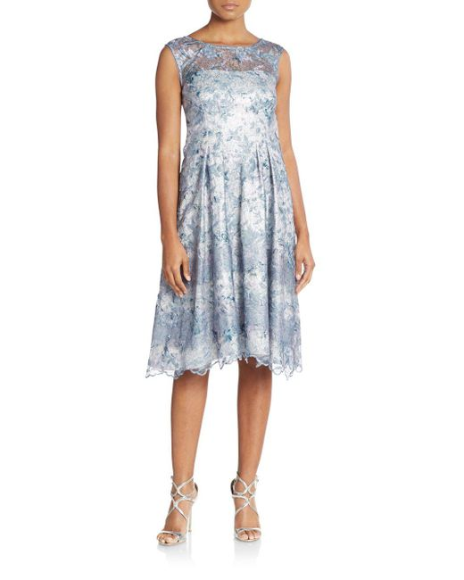 Kay Unger | Blue Embroidered & Embellished Illusion-top Dress | Lyst