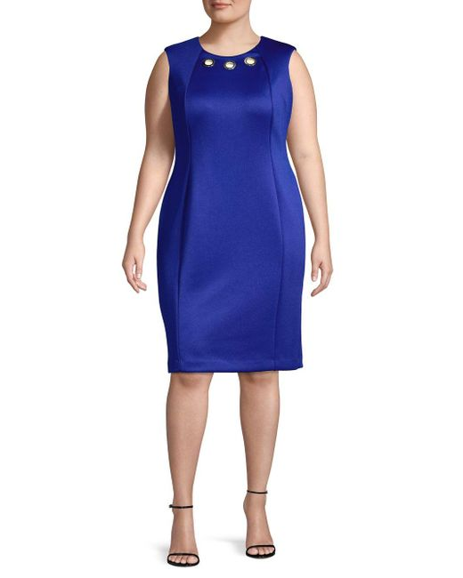 Calvin Klein Blue Sleeveless Grommet Sheath Dress