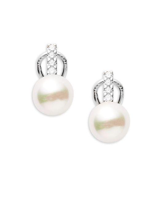 Majorica - 7mm White Faux Pearl & Sterling Silver Hollow Fill Earrings - Lyst