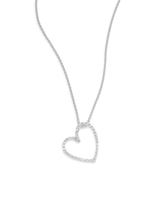 Saks Fifth Avenue | Metallic Diamond & 14k White Gold Open Heart Necklace | Lyst