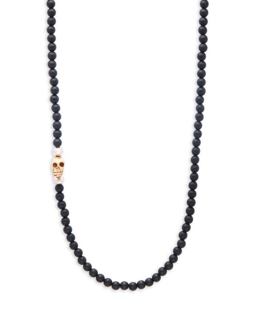 King Baby Studio | Black Beaded Onyx Skull Charm Necklace | Lyst