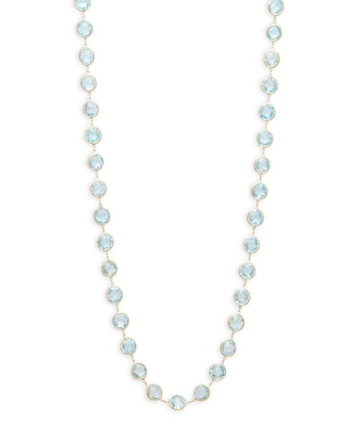 Saks Fifth Avenue - 18k Yellow Gold Linked Blue Topaz Necklace - Lyst