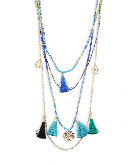Cara | Blue Beaded Tassel Pendant Necklace | Lyst