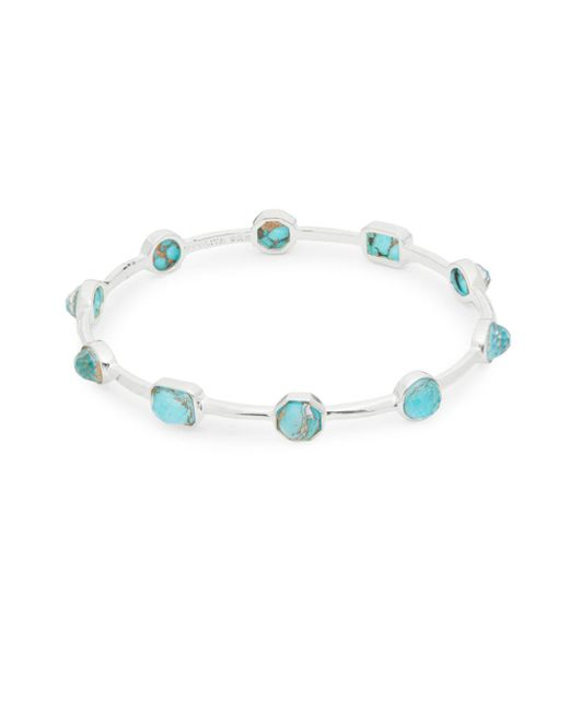 Ippolita - Metallic Rock Candy Clear Quartz, Bronze Turquoise And Sterling Silver Bangle Bracelet - Lyst